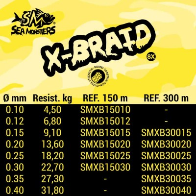 SEA MONSTERS X-BRAID 8X 150 M 0,15
