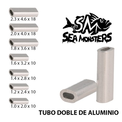 TUBO DOBLE ALUMINIO SEA MONSTERS 1.0 x 2.0 x 10 (25un)