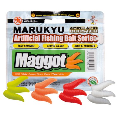 B/54pcs MARUKYU MAGGOT Orange fluo